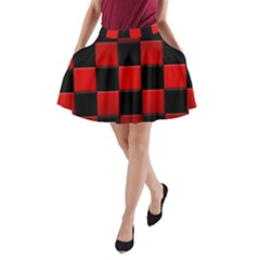 Black And Red Backgrounds A Line Pocket Skirt