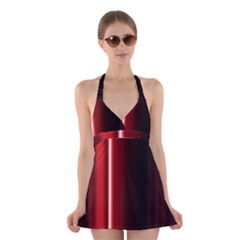 Black And Red Halter Swimsuit Dress