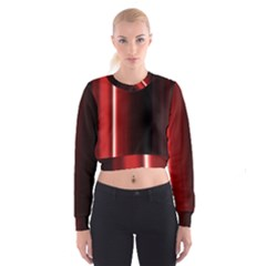 Black And Red Women s Cropped Sweatshirt