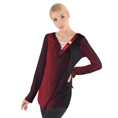 Black And Red Women s Tie Up Tee