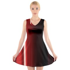 Black And Red V Neck Sleeveless Skater Dress