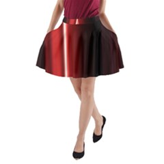 Black And Red A Line Pocket Skirt