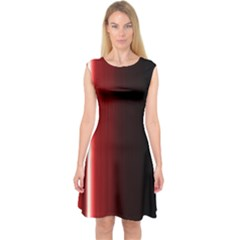 Black And Red Capsleeve Midi Dress