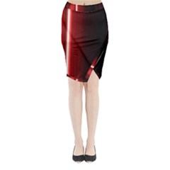 Black And Red Midi Wrap Pencil Skirt