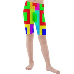 Colors Purple And Yellow Kids  Mid Length Swim Shorts