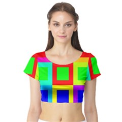 Colors Purple And Yellow Short Sleeve Crop Top (Tight Fit)