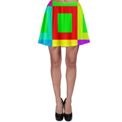 Colors Purple And Yellow Skater Skirt