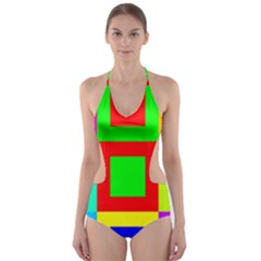 Colors Purple And Yellow Cut-Out One Piece Swimsuit