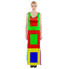 Colors Purple And Yellow Maxi Thigh Split Dress
