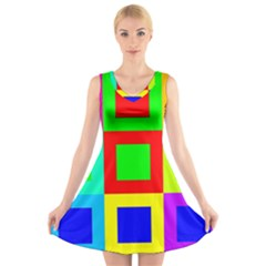 Colors Purple And Yellow V Neck Sleeveless Skater Dress
