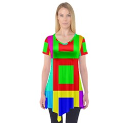 Colors Purple And Yellow Short Sleeve Tunic