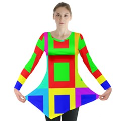 Colors Purple And Yellow Long Sleeve Tunic