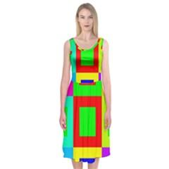 Colors Purple And Yellow Midi Sleeveless Dress