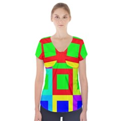 Colors Purple And Yellow Short Sleeve Front Detail Top