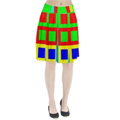 Colors Purple And Yellow Pleated Skirt