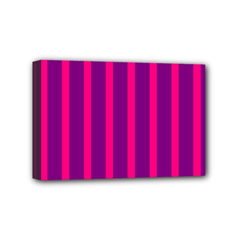 Deep Pink And Black Vertical Lines Mini Canvas 6  X 4