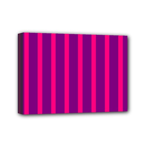 Deep Pink And Black Vertical Lines Mini Canvas 7  X 5