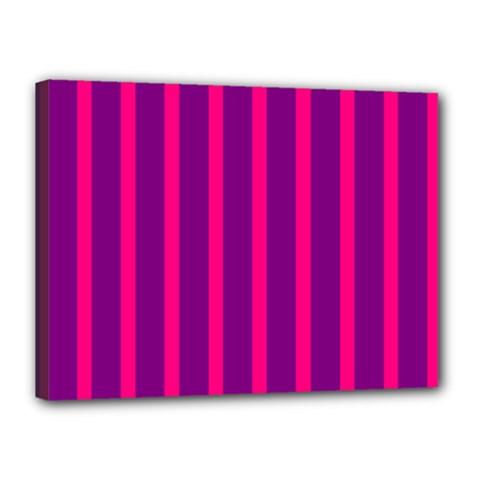 Deep Pink And Black Vertical Lines Canvas 16  X 12