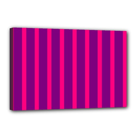 Deep Pink And Black Vertical Lines Canvas 18  X 12