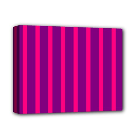 Deep Pink And Black Vertical Lines Deluxe Canvas 14  X 11