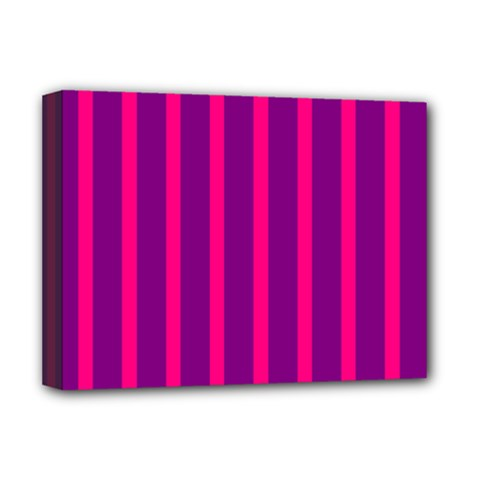 Deep Pink And Black Vertical Lines Deluxe Canvas 16  X 12
