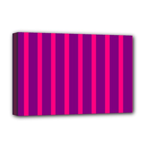 Deep Pink And Black Vertical Lines Deluxe Canvas 18  X 12