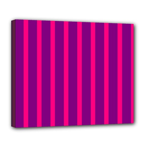 Deep Pink And Black Vertical Lines Deluxe Canvas 24  X 20