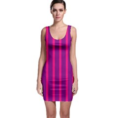 Deep Pink And Black Vertical Lines Sleeveless Bodycon Dress