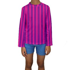Deep Pink And Black Vertical Lines Kids  Long Sleeve Swimwear