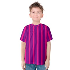 Deep Pink And Black Vertical Lines Kids  Cotton Tee