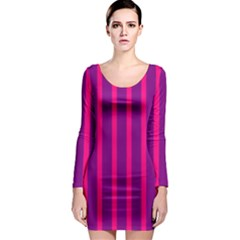 Deep Pink And Black Vertical Lines Long Sleeve Bodycon Dress