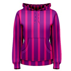 Deep Pink And Black Vertical Lines Women s Pullover Hoodie