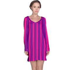 Deep Pink And Black Vertical Lines Long Sleeve Nightdress
