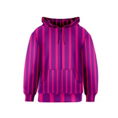 Deep Pink And Black Vertical Lines Kids  Zipper Hoodie