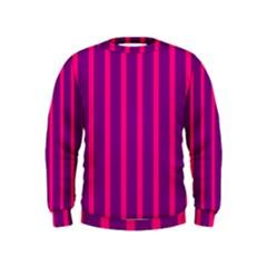 Deep Pink And Black Vertical Lines Kids  Sweatshirt