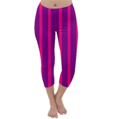 Deep Pink And Black Vertical Lines Capri Winter Leggings