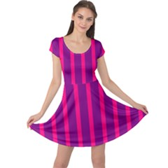 Deep Pink And Black Vertical Lines Cap Sleeve Dresses