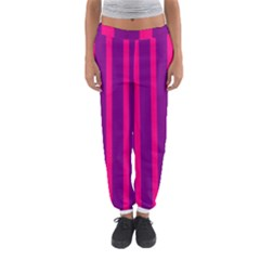 Deep Pink And Black Vertical Lines Women s Jogger Sweatpants