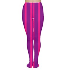 Deep Pink And Black Vertical Lines Women s Tights