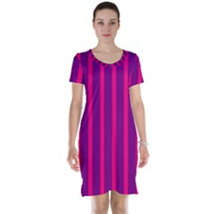 Deep Pink And Black Vertical Lines Short Sleeve Nightdress
