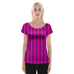 Deep Pink And Black Vertical Lines Women s Cap Sleeve Top