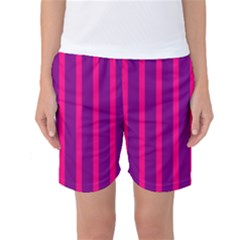 Deep Pink And Black Vertical Lines Women s Basketball Shorts