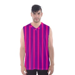 Deep Pink And Black Vertical Lines Men s Basketball Tank Top