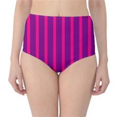 Deep Pink And Black Vertical Lines High-Waist Bikini Bottoms