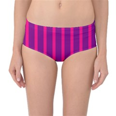 Deep Pink And Black Vertical Lines Mid Waist Bikini Bottoms