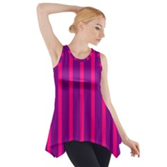 Deep Pink And Black Vertical Lines Side Drop Tank Tunic