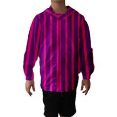 Deep Pink And Black Vertical Lines Hooded Wind Breaker (kids)