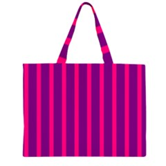 Deep Pink And Black Vertical Lines Large Tote Bag