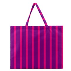 Deep Pink And Black Vertical Lines Zipper Large Tote Bag