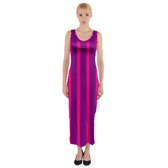 Deep Pink And Black Vertical Lines Fitted Maxi Dress